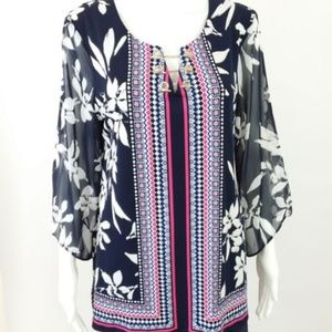 JM Collection Blouse Sheer Sleeves Floral NWT -T